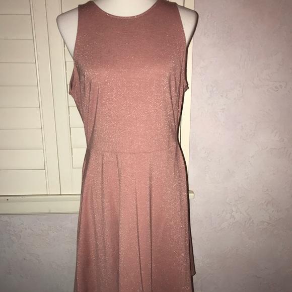 H M Dresses Rose Gold Metallic Skater Dress Hm Large Nwt Poshmark